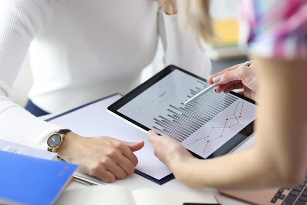 Деловая женщина, показывающая граф коллеге на цифровом планшете крупным планом