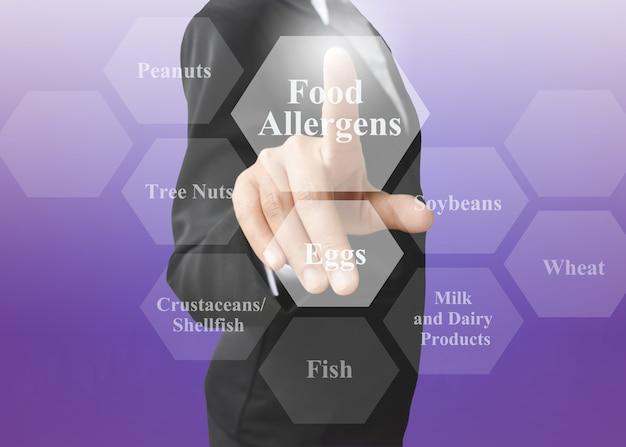 食物アレルゲンのプレゼンテーションを示す実業家。