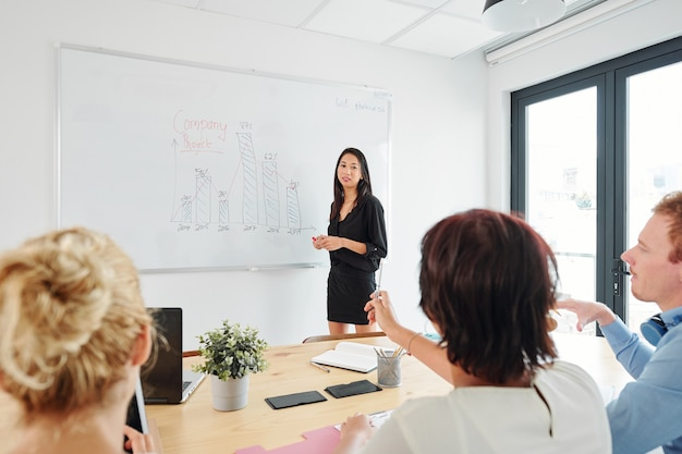 Businesswoman speaking in front of colleague