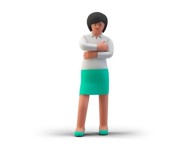 Деловая женщина, стоящая в успешной счастливой позе, изолированные на белом фоне 3d иллюстрация