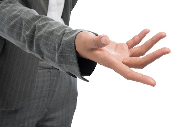 Businesswoman standing with open palm