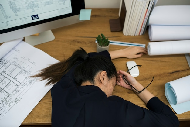 Businesswoman stressed and tired
