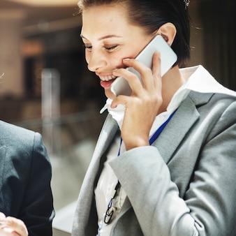 Businesswoman telecommunication connection concept