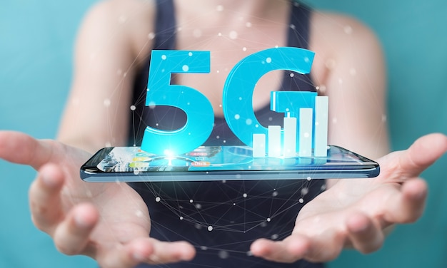 Businesswoman using 5g network with mobile phone, 3d rendering