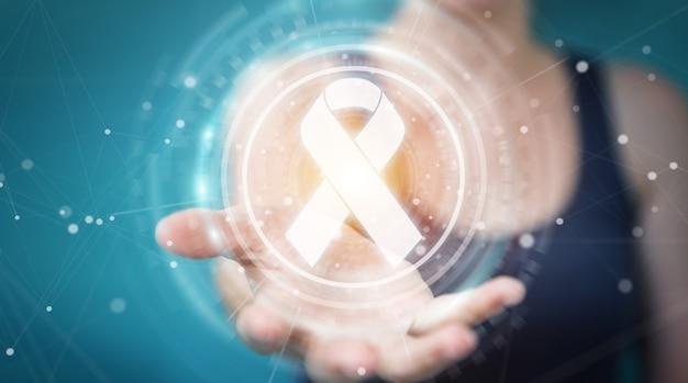 Businesswoman using digital ribbon cancer interface, 3d rendering