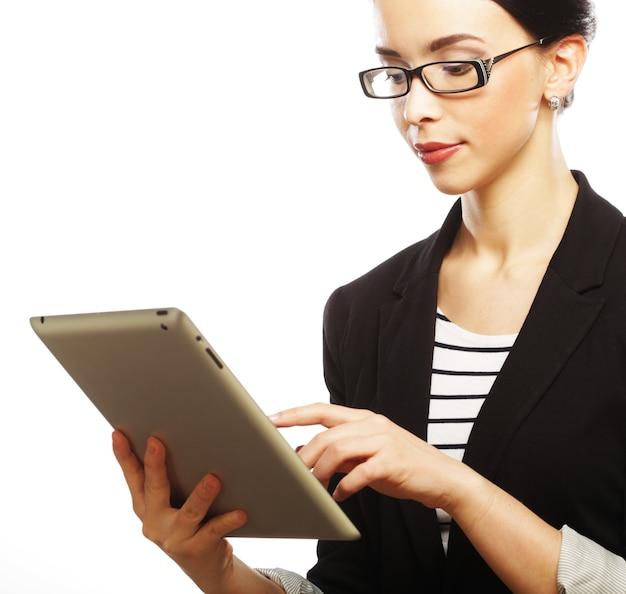 タブレットコンピュータを使用して実業家