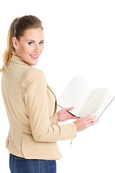 Businesswoman with agenda over white background