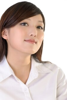 Businesswoman with confident expression, closeup portrait of oriental office lady.