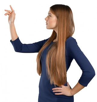 Businesswoman with finger point aside