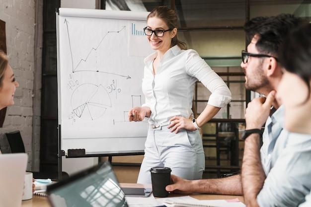 Imprenditrice con gli occhiali durante una riunione di presentazione con i suoi coetanei