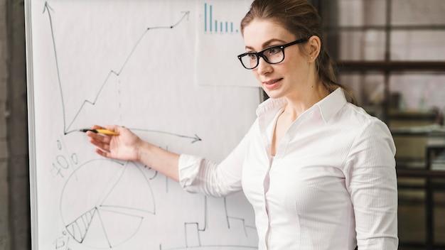 Donna di affari con gli occhiali che danno una presentazione