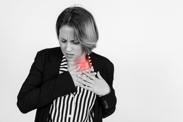 Businesswoman with hurting shoulder