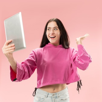 Businesswoman with laptop. love to computer concept.