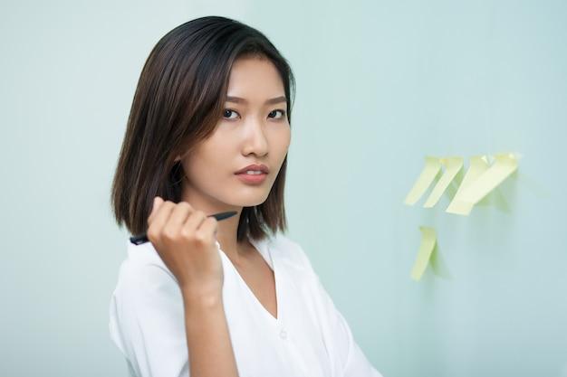 Businesswoman woman positive sticky female