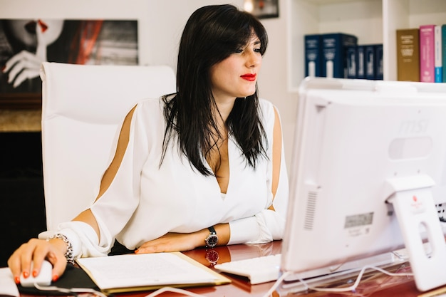 Businesswoman working on computer in stylish office