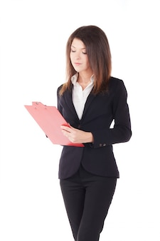 Businesswoman working with clipboard