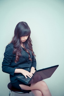 Businesswoman working with laptop. concept for business