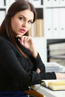 Businesswoman in the workplace in the office