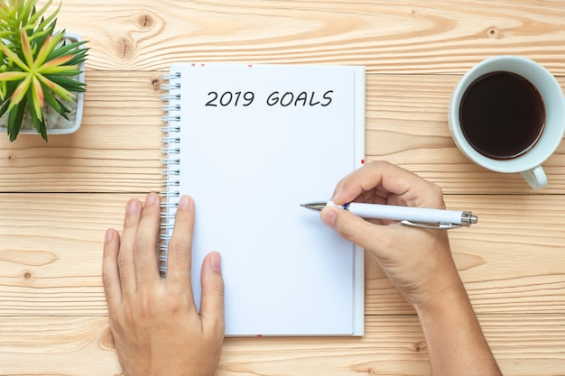 Businesswoman writing 2019 goals with notebook