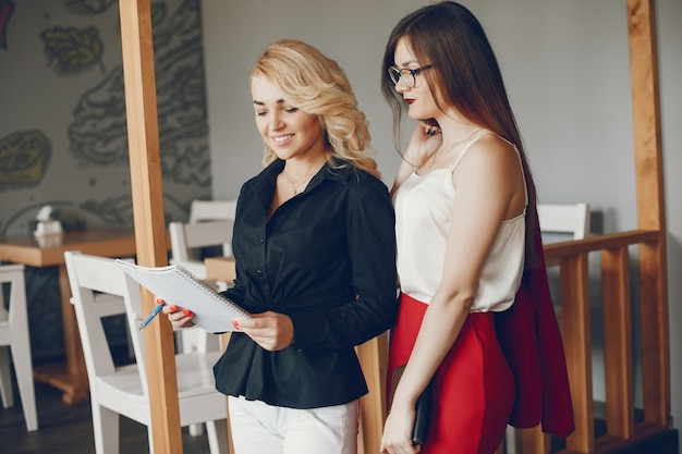 Businesswomen in a caffe