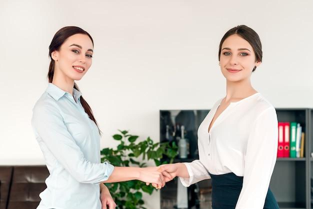 Businesswomen cooperating in the office and shaking hands on a deal