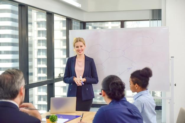Деловая женщина представит бизнес-проект с менеджером и бизнес-командой в конференц-зале