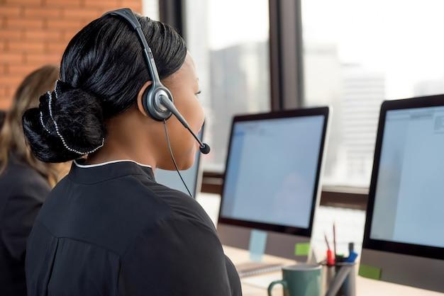 Businesswomen working in call center