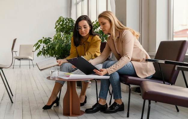 Businesswomen working on a project together