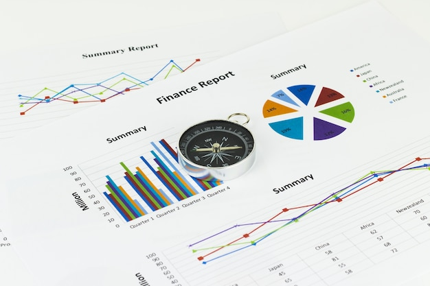 Bussiness graphs and finances with a compass lying nearby
