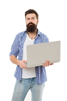 Busy freelancer. business online. bearded man work on computer. freelance work online. man with computer. bearded man using computer. online management. stay online. hipster working on computer.