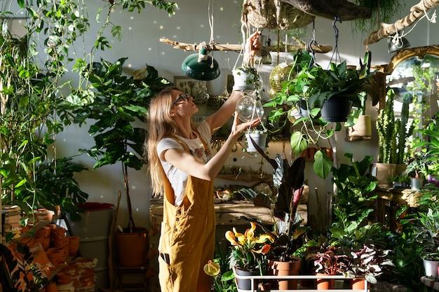 바쁜 정원사는 화분과 녹색 열대 관엽 식물 위에 화분에 심은 집 식물로 상점에서 일합니다.