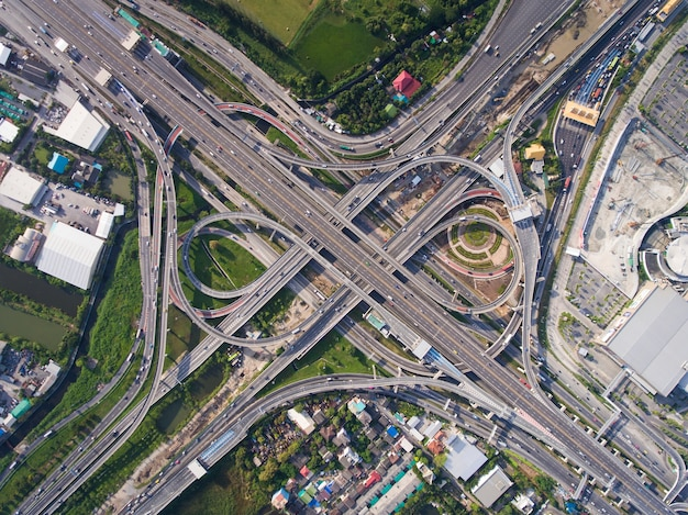 Busy highway junction from aerial view
