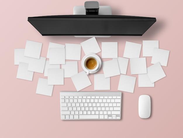 참고 서류가 많은 바쁜 사무실 책상.