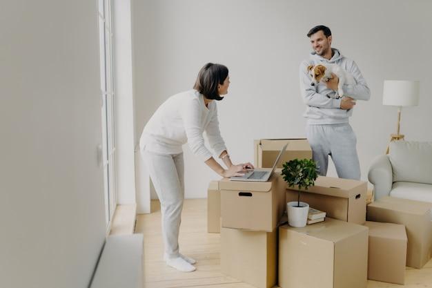 忙しい女性はラップトップコンピューターで情報を見つけようとし、オンラインで家具を購入し、男性は犬と一緒に立っています