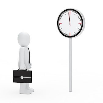 Busy worker next to a clock