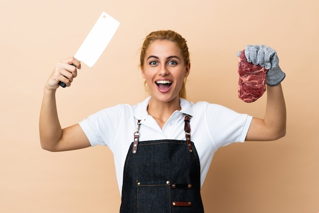 Butcher woman wearing an apron over isolated space