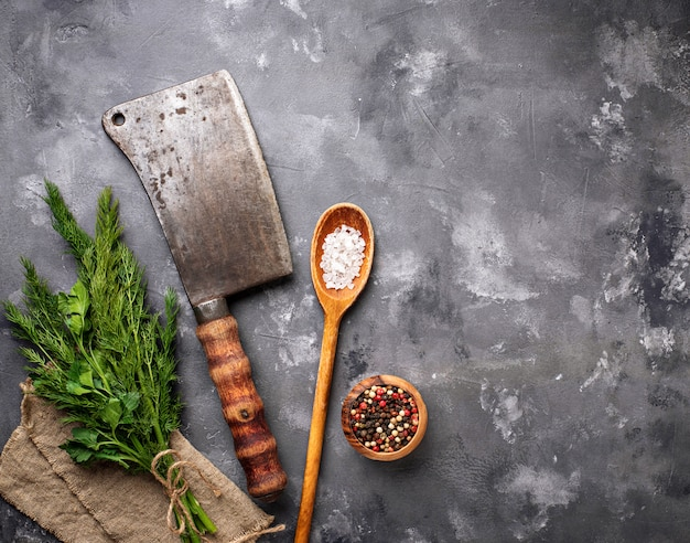 Butchers vintage cleaver with spices