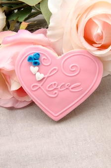 Butter cookies with heart shaped fondant decorated