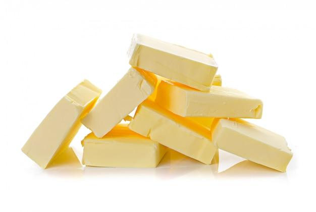 分離された白のバター