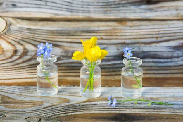 Buttercups and forget-me-nots in small glass jars.