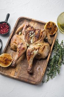 Butterflied rotisserie chicken with crispy golden skin