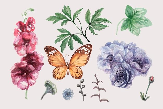 蝶とアネモネパターン水彩手描き