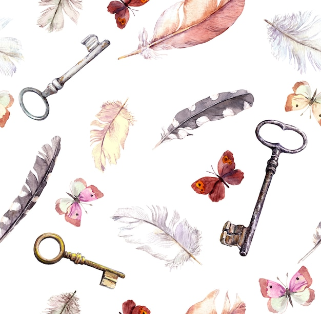 Butterflies, feathers and keys.