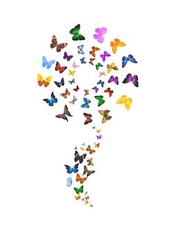 흰색 배경에 고립 된 꽃의 형태로 나비. 열대 곤충. 디자인에 대 한 색된 나방입니다. 고품질 사진
