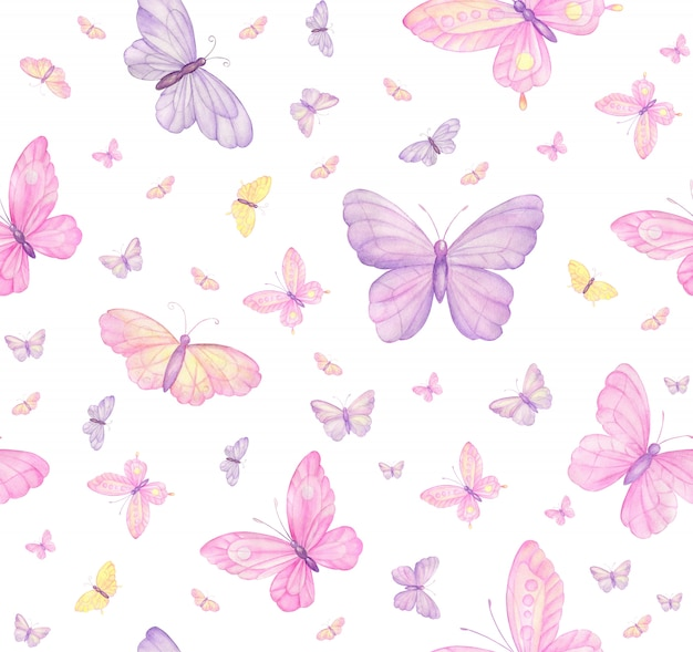 Butterflies on white seamless pattern