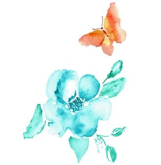 나비와 꽃 수채화 그리기 예술 흰색 절연