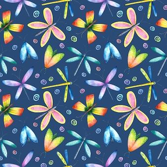 Бабочка стрекоза мотылек бесшовные модели красочные акварель летающих насекомых повторяет печать