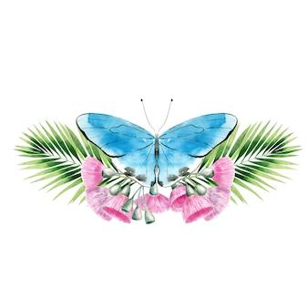 ヤシの葉とユーカリの花の蝶