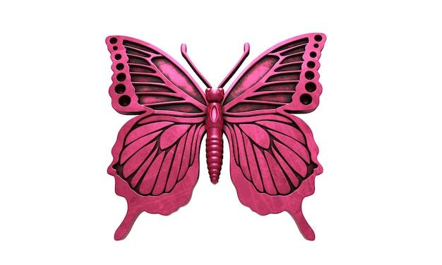 Бабочка на белом фоне, изолированные бабочки, 3d-рендеринг.