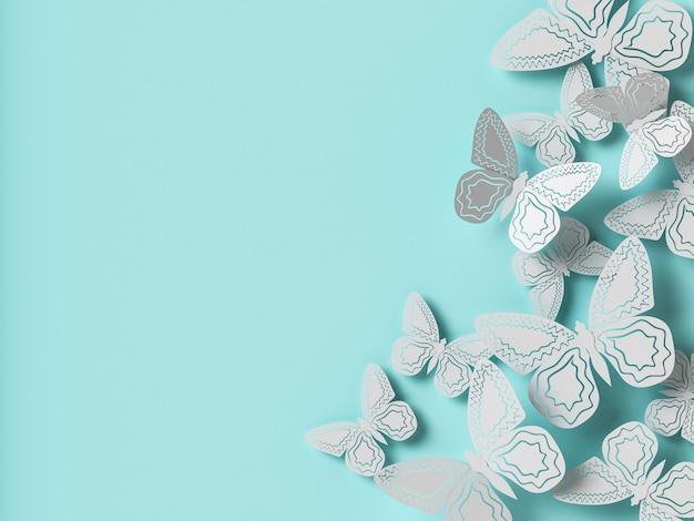 蝶の紙の切り抜きフラット背景。 3dイラスト